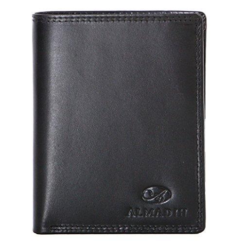 ALMADIH ® Portemonnaie Hochformat edles Rindsleder - 12 Kartenfächer mit Geschenkbox (P1H SO) Leder Herren Damen Börse Unisex Geldbörse Geldbeutel Portmonee Brieftasche Herrenbörse (P1H Schwarz)