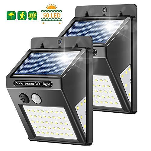 Solarleuchten für Außen, Banral 50LED solarlampen für Außen mit Bewegungsmelder 270° Superhelle Solarleuchte, Sicherheitswandleuchte 3 Modi IP65 Wasserdichte Wandleuchte für außen Garten (2pc)