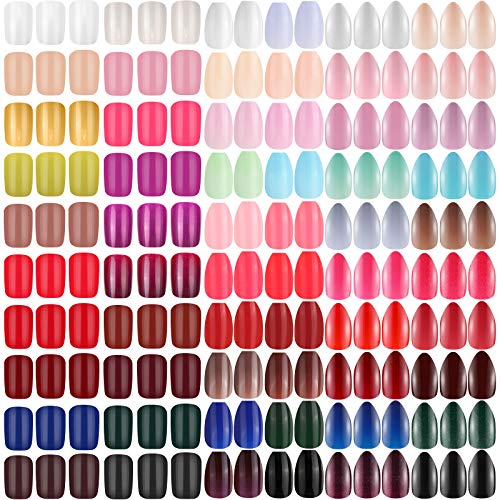 1440 Pieces 60 Sets Short Stiletto Press on Nails Short Ballerina Coffin Fake Nails Tips Medium Square False Nails Full Cover Artificial Short Nails for DIY Manicure, 3 Style (Multi Colors)