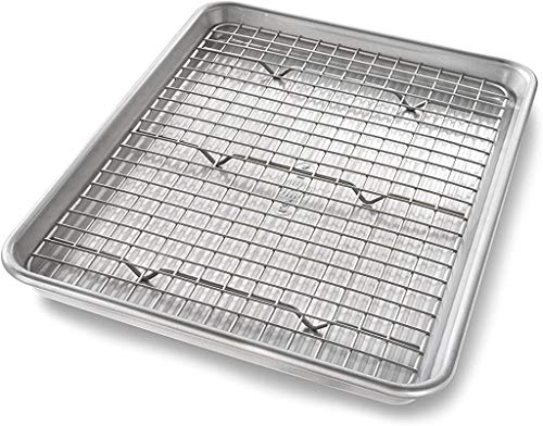 USA Pan Quarter Sheet Baking Pan and Bakeable Nonstick Cooling Rack, Metal