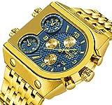 Relojes, Reloj analógico de Cuarzo Azul para Hombre Calendario de Tres Zonas horarias Reloj de Pulsera Deportivo de Cuarzo con Banda de Acero Relojes de Oro a Prueba de Agua de 30 m-Goldblue