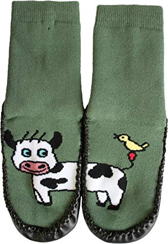 Circle Five Hüttenschuh Söckchen mit lustigen Tiermotiven, echte Rindsledersohle | 5 Motive zur Auswahl Farbe Kuh Größe 24-25 - 1 Paar