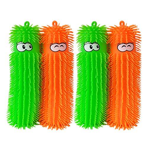 NUOBESTY 4PCS Caterpillar Puffer Toys Light Up Puffer Ball Puffer Sensory Ball Novelty Squeezey Toys for Kids Children Toddler