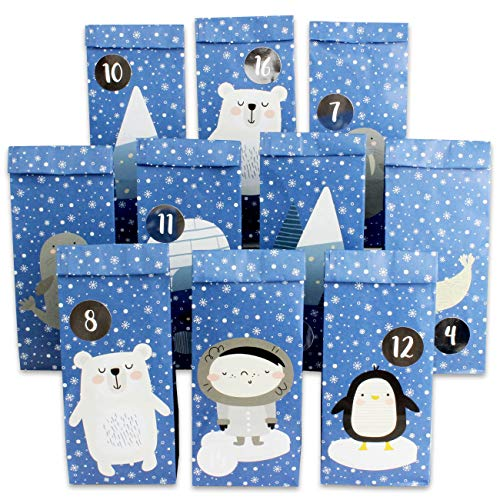 Papierdrachen Premium Adventskalender zum Befüllen - Poloartiere zum Aufkleben - mit 24 blau bedruckten Papiertüten und tollen Stickern für Kinder - Weihnachten