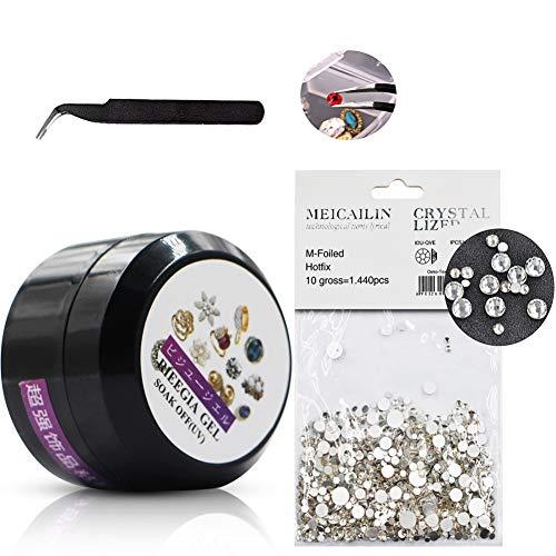 MEILINDS 1 botella de pegamento para decoración de uñas, 1 pegamento de diamantes de imitación de tamaño mixto, 1 pinza para uñas