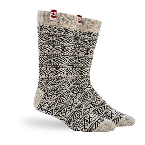 2 Paar Thermo Wollsocken Damen & Herren im Canadian Socks Style, Kanadische Socken Extrem Warm wie Norweger Socken, Stark gegen Wind und Wetter (Schwarz Meliert, 43-46)
