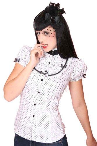 SugarShock 50er retro Polka Dots Stehkragen Bluse Rockabilly Pin Up - 3