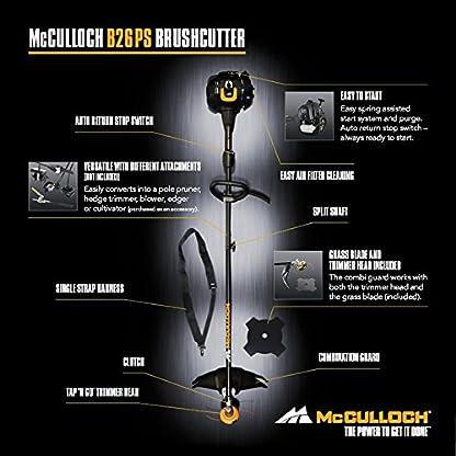 McCulloch 00096-72.078.01 B26 PS Desbrozadora con un ancho de trabajo de 40cm, cabezal de corte, interruptor de arranque y parada automático