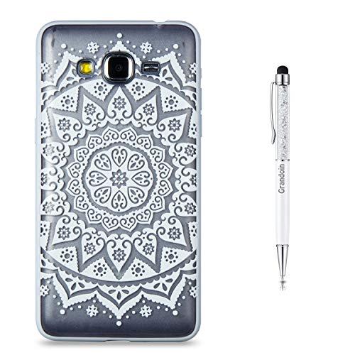 Grandoin Galaxy J2 Prime Hülle, 2 in 1 Ultra Dünne Schale Ultra Dünn Weich TPU Bumper Hülle Silikon Schutzhülle Handy Tasche für Samsung Galaxy J2 Prime (Weiße Sonnenblume)