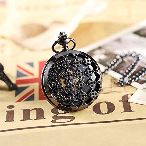 Reloj de Bolsillo, Reloj de Bolsillo mecánico Negro, Colgante de Collar con Cadena abatible Hueca, Rompecabezas para Hombre
