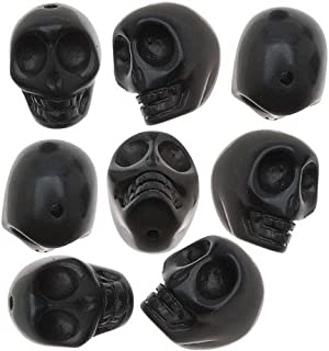 Beadaholique Jasper Carved Skulls Gemstone Beads, 14 x 18mm, Black