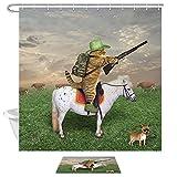 Duschvorhang mit lustigem Tiermotiv, Katze Cowboy mit Gewehr, Rides A Horse on Green Grass Ranch with Kuh H&, 174 x 178 cm, Stoff, Badezimmer-Vorhang, mit 49 x 69 cm, Flanell, rutschfeste Fußmatte