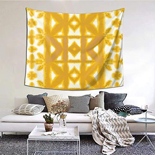 Tapiz de Pima Shibori amarillo para colgar en la pared, decoración del hogar, manta de playa india Trippy para dormitorio, dormitorio, dormitorio, hogar, 156 x 153 cm