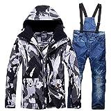 YJIU-ski suit Traje de Esquiar Trajes de esquí Nueva for Hombres y Mujeres al Aire Libre Snowboard Chaqueta y Pantalones Hombre Mujer Senderismo Chaqueta Parejas/Ropa de los Amantes de Invierno Set