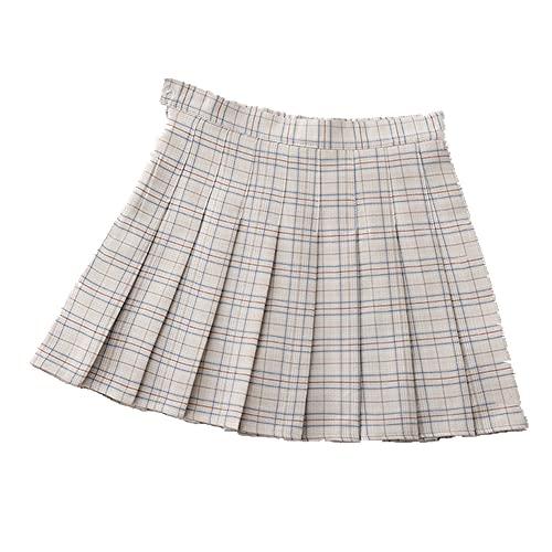 N\P Harajuku - Falda plisada para mujer, de verano, a cuadros, cintura alta, para mujer