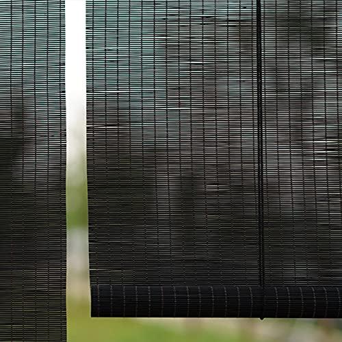 JLXJ Estor Enrollable Persiana Negro Retro Persiana Enrollable de Bambú para Cocina/Dormitorio/Dormitorio, Estilo Japones Filtrado de Luz Sombrilla, 70/90/110/130/150cm de Ancho