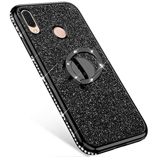 Coque compatible avec Huawei P20 Lite avec Anneau Kickstand,MoreChioce Bling Glitter Diamant 360 Rotation Béquille Souple Strass Housse de Protection Silicone Étui Bumper,Noir