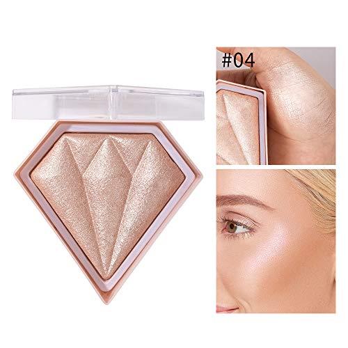 GL-Turelifes Diamond Highlight Powder Palette, Highlighting,Trimming & Blush 3 Uses Shimmer Powder, Glitter Bronzer Highlighter Powder Palette Highlighting Shimmering Powder (#01 Pearl White)