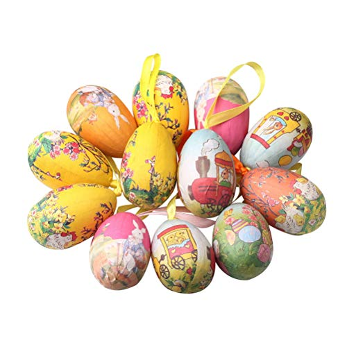 kuou 12 PCS Easter Eggs Ornament Set, Colorful Chicken Rabbit Painted Paper Mache Eggs for Easter Trees Decoration