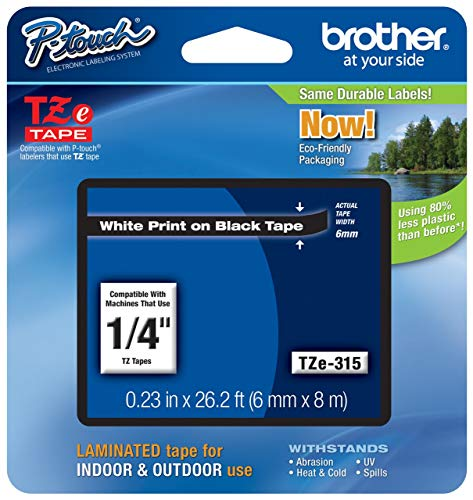 Brother Genuine P-touch TZE-315 Tape, 1/4 (0.23) Wide Standard Laminated Tape, White on Black, Laminated for Indoor or Outdoor Use, Water-Resistant, 0.23 x 26.2 (6mm x 8M), Single-Pack, TZE315