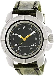 Fastrack Commando Men's Black Dial Leather Band Watch - T3088SL02