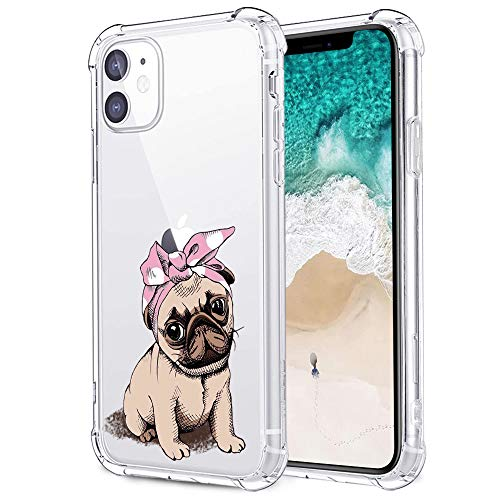 Cute Pug Case for iPhone 11, MAYCARI Clear with Design Funny Cute Bandana Pug Shockproof Hard PC Back + Soft TPU Bumper Scratch-Resistant Cover for Girls Women Men