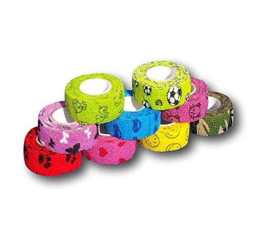 EKNA 9er-Set Kinderpflaster | Fingerverband | Pflasterverband | Pflaster ohne Kleber - Bunter Motiv-Mix - 2,5cm x 4,5m - elastisch, wasserabweisend, kohäsiv …