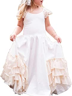 Girls Ruffles Wedding Party Rustic Dress Flower Girl Vintage Boho Beach Twirling Dress Maxi Robe