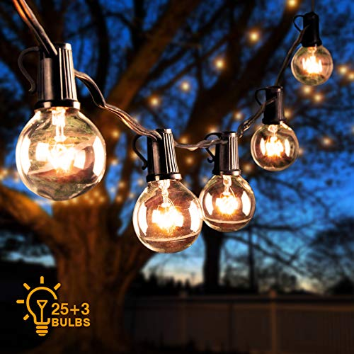 Outdoor String Lights 26 Ft G40 Globe Patio String Lights LED Bulbs Waterproof Connectable Hanging Lights for Valentine's Day Wedding Party Bedroom Terrace Gazebo Porch Deck Backyard