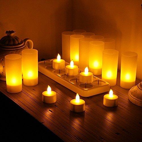 ARDUX flamlösa LED-ljus, uppladdningsbara värmeljuslampor med hållare, laddningsstation för fest, bröllop, hem, trädgård, platser inomhus och utomhus