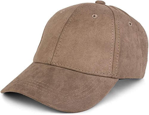 styleBREAKER 6-Panel Cap in Veloursleder, Wildleder Optik, Baseball Cap, verstellbar, Unisex 04023049, Farbe:Khaki