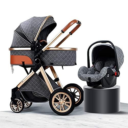 YQL 3 en 1 sistema de viaje cochecito de bebé, alto paisaje anti-choque cochecito de bebé recién nacido con organizador de cochecito, silla de paseo y accesorios (color: marrón) (color: gris)