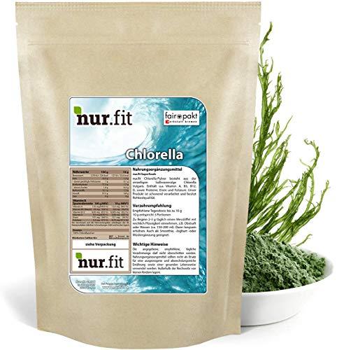 nur.fit by Nurafit Chlorella Pulver 500g – rein natürliches Pulver aus Chlorella Algen ohne Zusatzstoffe – Superfood in Rohkostqualität für grüne Smoothies – reines Algenpulver frei von Gentechnik