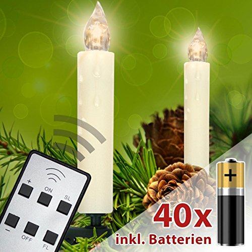 40/30/20/10 er Set LED Weihnachtskerzen mit Fernbedienung Kabellos mit Batterien Weihnachtsbaum Lichterkette Innen Weihnachtsbaum Kerzen Klammer Ø 15mm Dimmbar (Warmweiß, 40er)