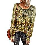 Damen Casual Fashion Rundhals Blumendruck Lose Langarm T-Shirt Top Damen