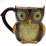 Greencherry - Tazza da caffè in ceramica, motivo: gufo, 340 ml, per caffè, tè, ciano, simpatico gufo, mattina, colore: marrone