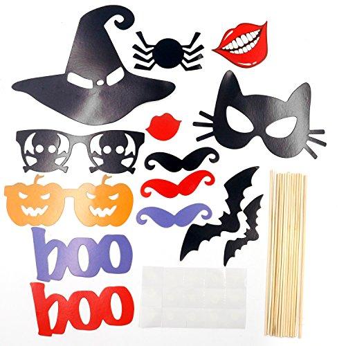 TRIXES 14 Pièces Halloween Bricolage Photo Stand Accessoires Chauves-Souris Sorcières Chapeau et Plus sur Bâtonnets pour Fête Amusement