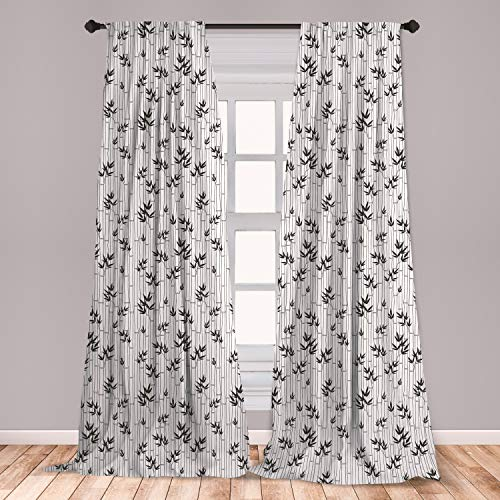 """Ambesonne Asian Window Curtains, Monochrome Bamboo Pattern with Leaves Foliage Elements Chinese Forest Design, Lightweight Decorative Panels Set of 2 with Rod Pocket, 56"""" x 63"""", White Charcoal"""
