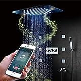 Sistema de Ducha de Baño Moderno, Sistema de Ducha de Lluvia LED Music Cabezal de Lluvia para Montaje En Techo Y 6 Aerosoles Corporales Válvula de Ducha Termostática,Remote Control