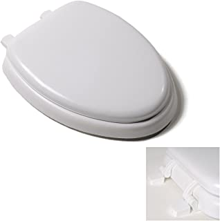 Deluxe White Elongated Soft Cushioned Padded Toilet Seat with Closed Front, Quick Clean