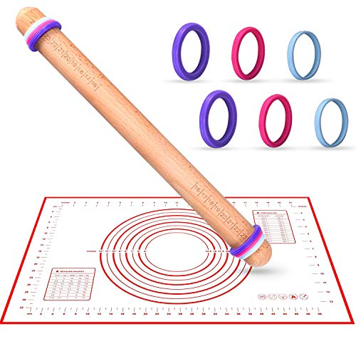 Rolling Pin With Thickness Rings And Silicone Baking Mat Set,K KERNOWO 16''x1.4'' Adjustable Wood Rolling Pins ,Dough Roller and Pastry Mat Kits for Baking, Fondant,Pizza, Cake Pie,Cookie