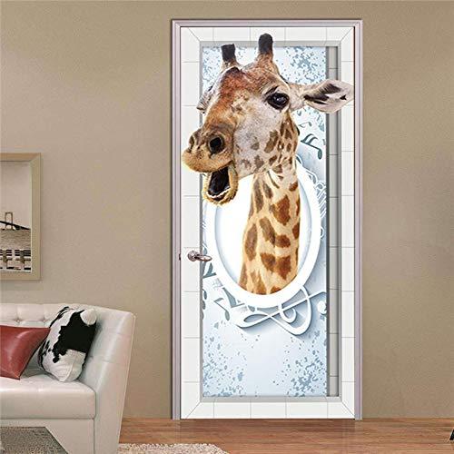 Dracol Papel pintado 3D con diseño de jirafas para puerta de PVC, autoadhesivo, papel pintado fotográfico para pared, para salón, cocina, dormitorio, decoración, 38,5 x 200 cm, 2 unidades