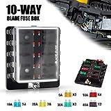 Liteway 10-Way Blade Fuse Box 12-32V LED Illuminated Automotive Fuse Block for Car Boat Ma...