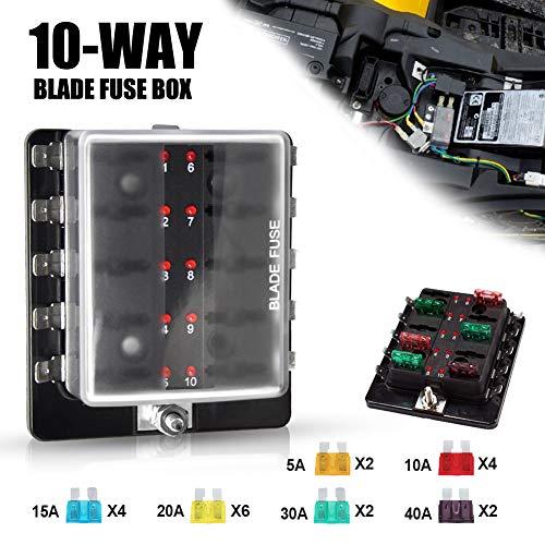 Liteway 10-Way Blade Fuse Box 12-32V LED Illuminated Automotive Fuse Block for Car Boat Marine Trike with LED Warning Light Kit