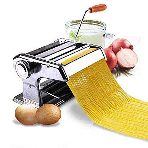 HARIVAR MART™ Stainless Steel Pasta Maker & Roller Machine, Noodle Spaghetti & Fettuccine Maker Made in Italy, Chrome, Includes Pasta Cutter, Hand Crank, and Instructions