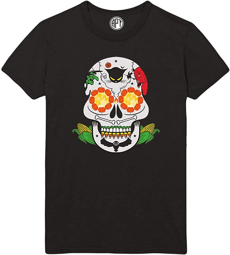 Colorful Sugar Skull Day of The Dead Neon Printed T-Shirt