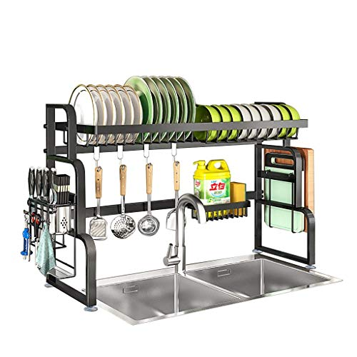 Talladora de secado del plato sobre el fregadero Decking Stying Sleed Driving para el fregadero de la cocina 304 Acero inoxidable sobre el estante del fregadero Almacenamiento Orgainzer Rack, Negro