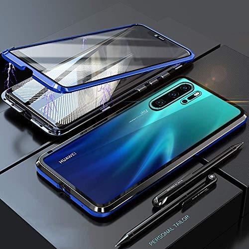 Yichxu Huawei P30 Pro Hülle Magnet, Magnetische Adsorption Handyhülle für Huawei P30 Pro, Einteiliges 360 Grad Gehärtetes Glas Schutzhülle Panzerglasfolie Durchsichtige Case Cover, Blau - 3