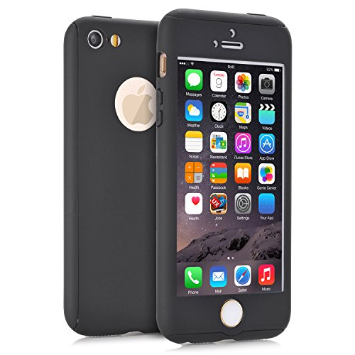 iPhone 5 Cases, iPhone 5S Case, iPhone SE Case, VPR 2 in 1 Ultra Thin 360 Full Body Protection Hard Premium Luxury Cover Shock Absorption Skid-proof PC Case for for Apple iPhone 5 5S SE (Black)