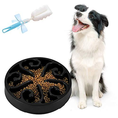 Ciotole per Cani Gatto - Ciotola per Cani ad Alimentazione Mangiare Lenta, Ecologica Durevole Non tossico Prevenire soffocamento Rallentare Alimenti Ciotola per Alimenti per Gatti Ciotola (Nero)